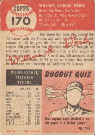1953 Topps #170 Bill Werle back image