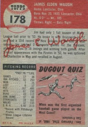1953 Topps #178 Jim Waugh RC back image