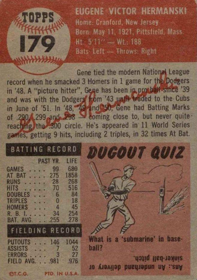 1953 Topps #179 Gene Hermanski back image