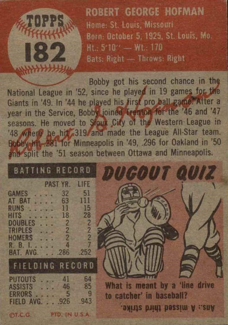 1953 Topps #182 Bobby Hofman back image
