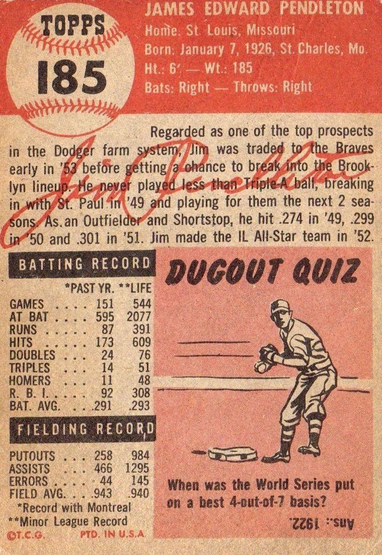 1953 Topps #185 Jim Pendleton RC back image