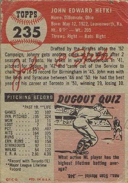 1953 Topps #235 John Hetki DP RC back image
