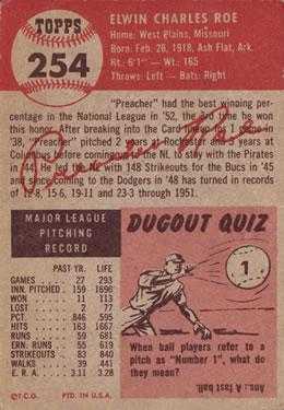 1953 Topps #254 Preacher Roe DP back image