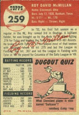 1953 Topps #259 Roy McMillan DP back image