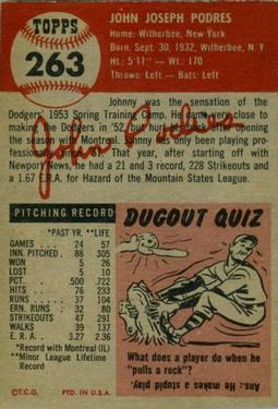 1953 Topps #263 Johnny Podres RC back image