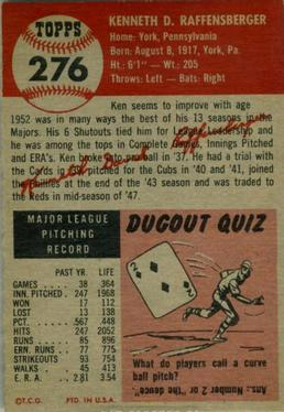 1953 Topps #276 Ken Raffensberger back image