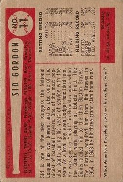 1954 Bowman #11 Sid Gordon back image