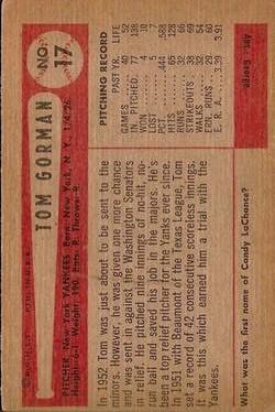 1954 Bowman #17 Tom Gorman back image