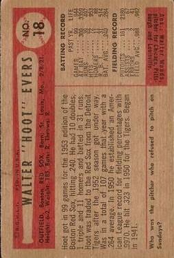 1954 Bowman #18 Hoot Evers back image