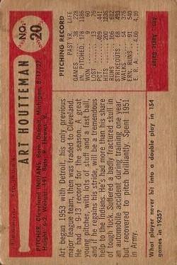 1954 Bowman #20 Art Houtteman back image