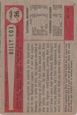 1954 Bowman #26A Billy Cox/1.000/.960 Fielding Avg. back image
