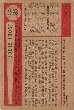1954 Bowman #35A Eddie Joost Quiz Answer is 8 back image
