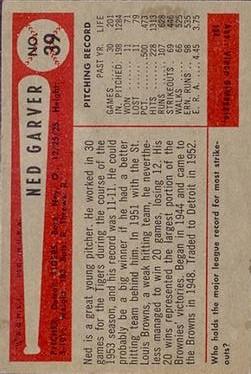 1954 Bowman #39 Ned Garver back image