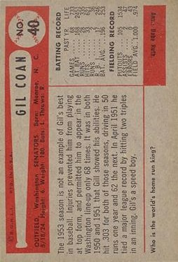 1954 Bowman #40 Gil Coan back image