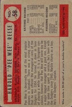 1954 Bowman #58 Pee Wee Reese back image