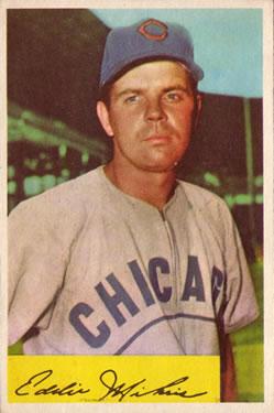 1954 Bowman #61A Eddie Miksis/.954/.962 Fielding Avg.