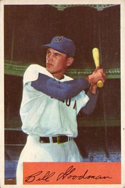 1954 Bowman #82A Bill Goodman/.965/.986 Fielding Avg.