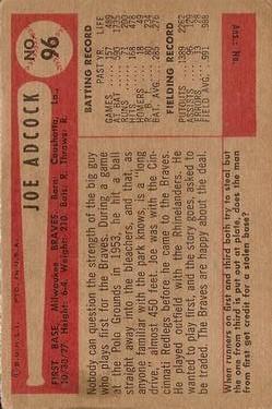 1954 Bowman #96 Joe Adcock back image