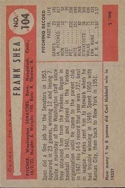 1954 Bowman #104 Frank Shea back image