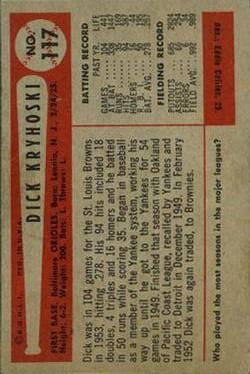 1954 Bowman #117 Dick Kryhoski back image