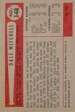 1954 Bowman #148 Dale Mitchell back image