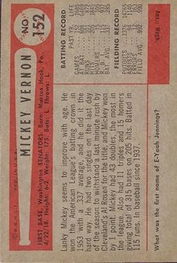 1954 Bowman #152 Mickey Vernon back image