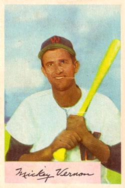 1954 Bowman #152 Mickey Vernon
