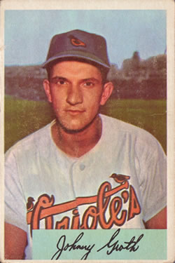 1954 Bowman #165 Johnny Groth