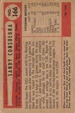 1954 Bowman #166 Sandy Consuegra back image