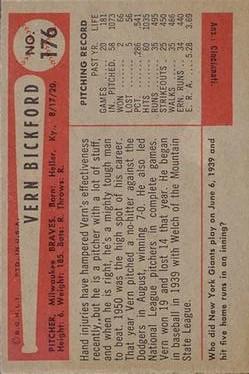 1954 Bowman #176 Vern Bickford back image