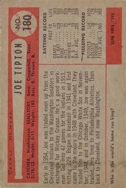 1954 Bowman #180 Joe Tipton back image