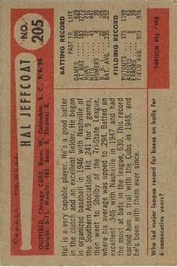 1954 Bowman #205 Hal Jeffcoat back image