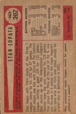 1954 Bowman #207 Stan Lopata back image