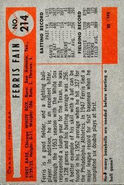 1954 Bowman #214 Ferris Fain back image