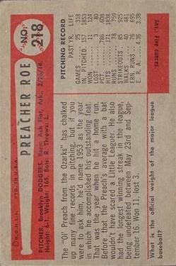 1954 Bowman #218 Preacher Roe back image