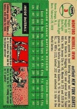 1954 Topps #3 Monte Irvin back image