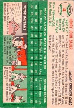 1954 Topps #4 Hank Sauer back image