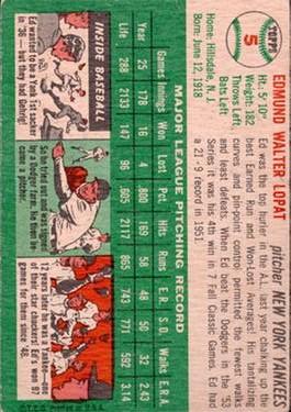1954 Topps #5 Ed Lopat back image