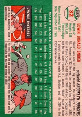 1954 Topps #32 Duke Snider back image