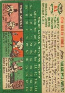 1954 Topps #51 Johnny Lindell back image