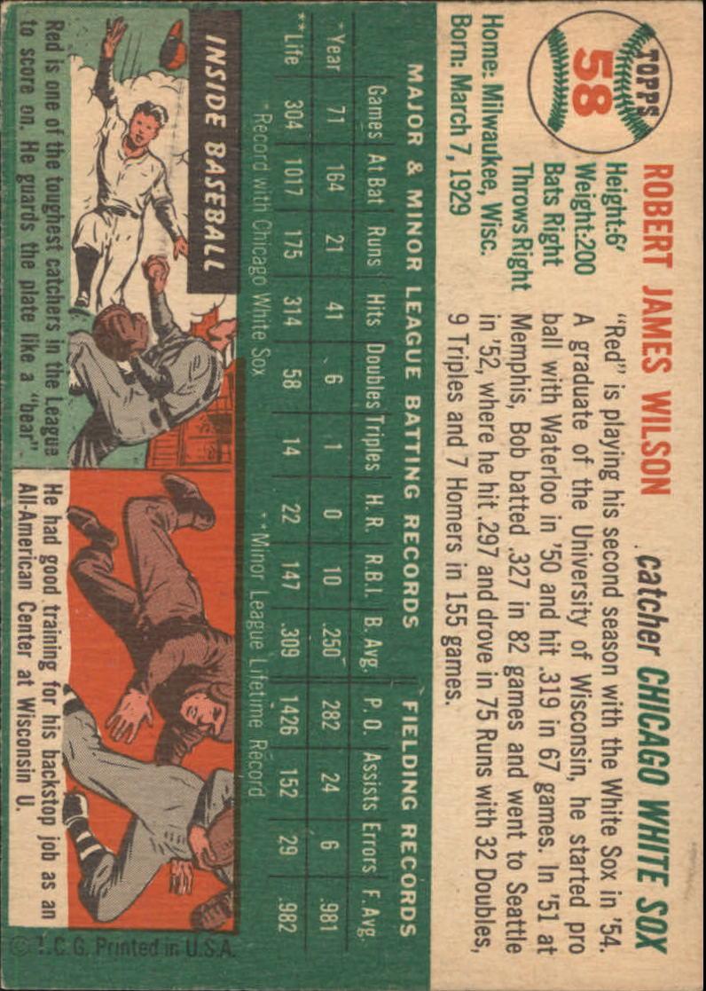 1954 Topps #58 Bob Wilson back image
