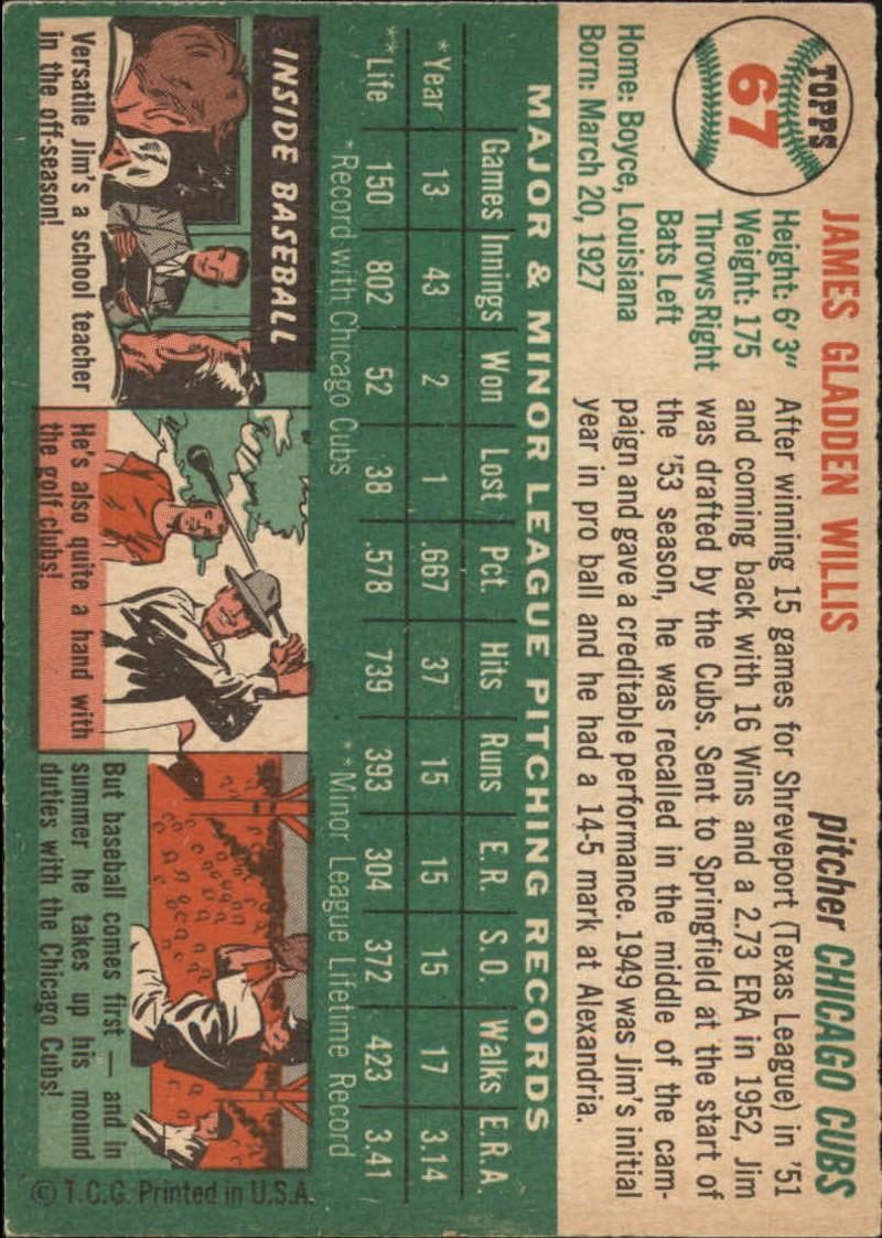 1954 Topps #67 Jim Willis RC back image