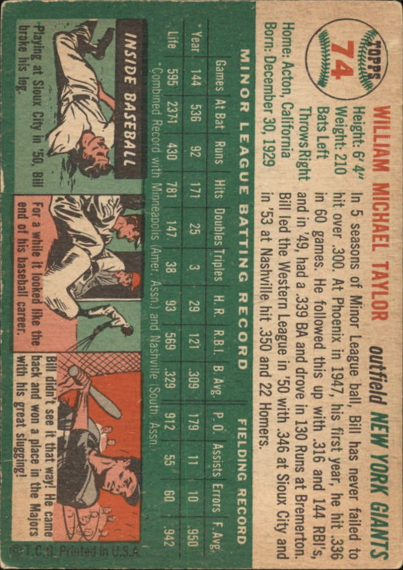 1954 Topps #74 Bill Taylor RC back image