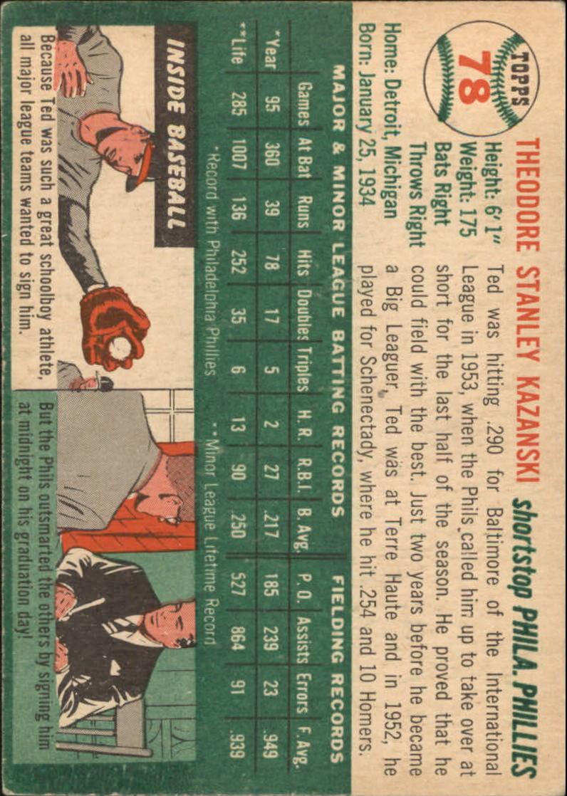 1954 Topps #78 Ted Kazanski RC back image