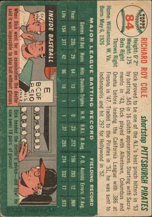 1954 Topps #84 Dick Cole RC back image