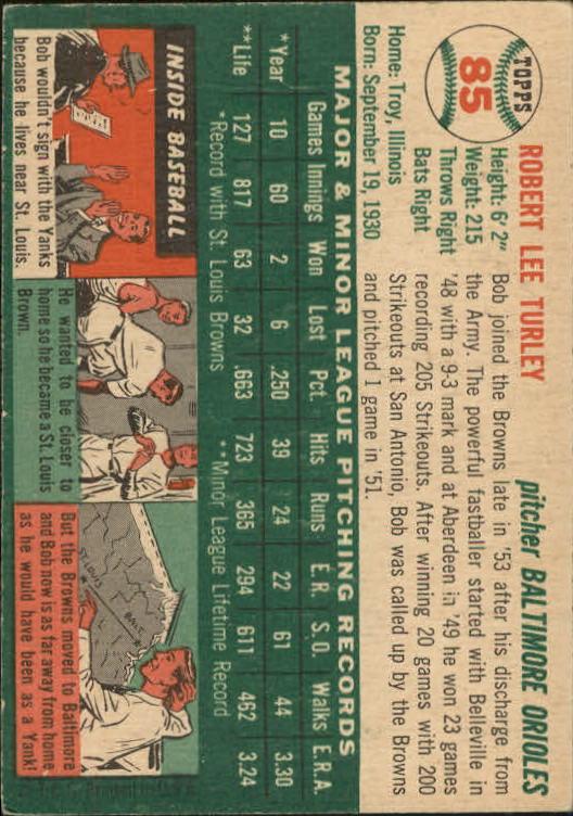 1954 Topps #85 Bob Turley RC back image