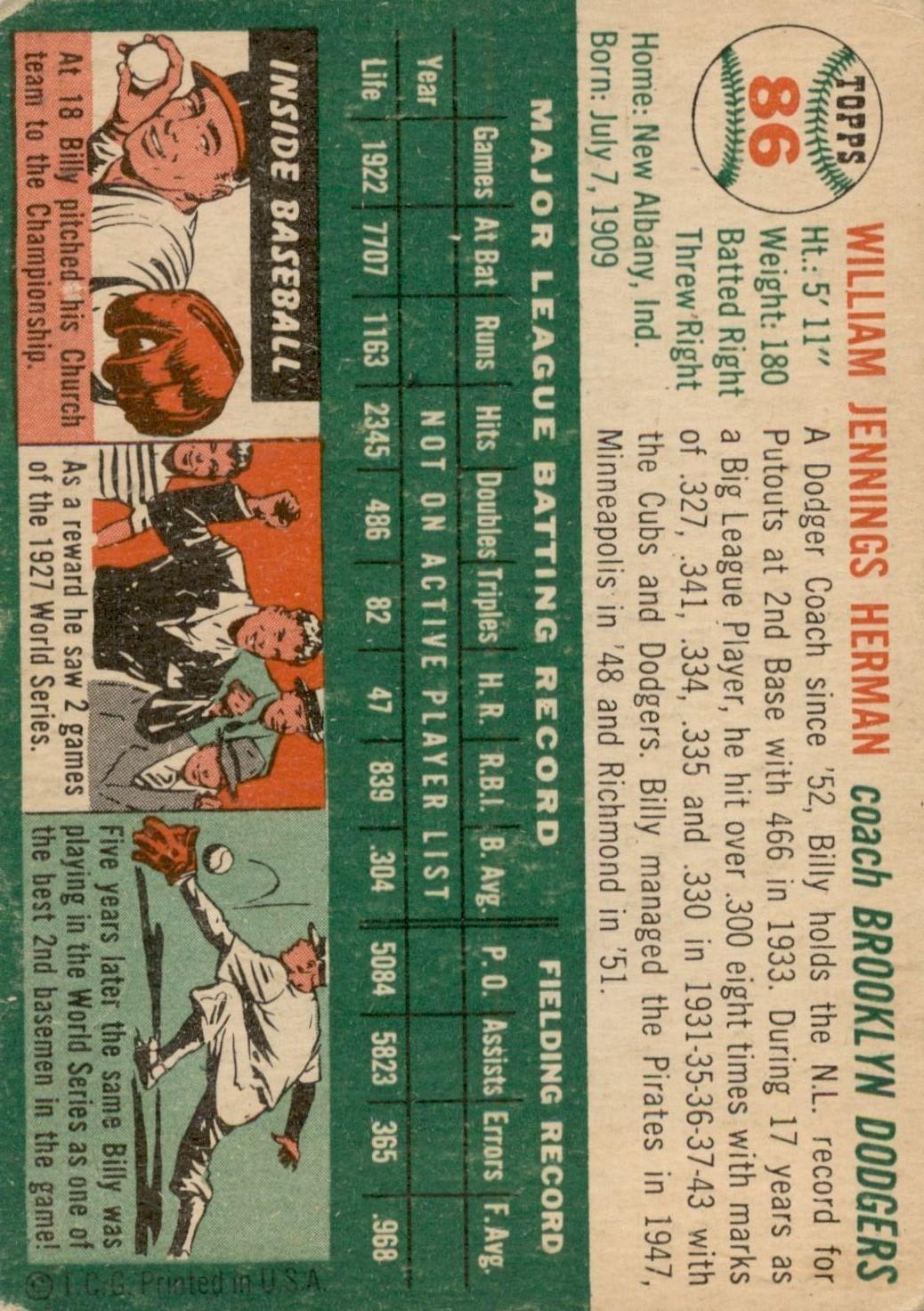 1954 Topps #86 Billy Herman CO back image