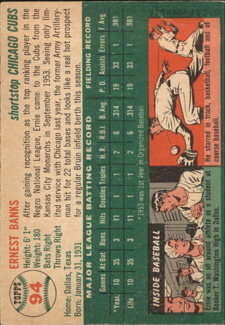 1954 Topps #94 Ernie Banks RC back image