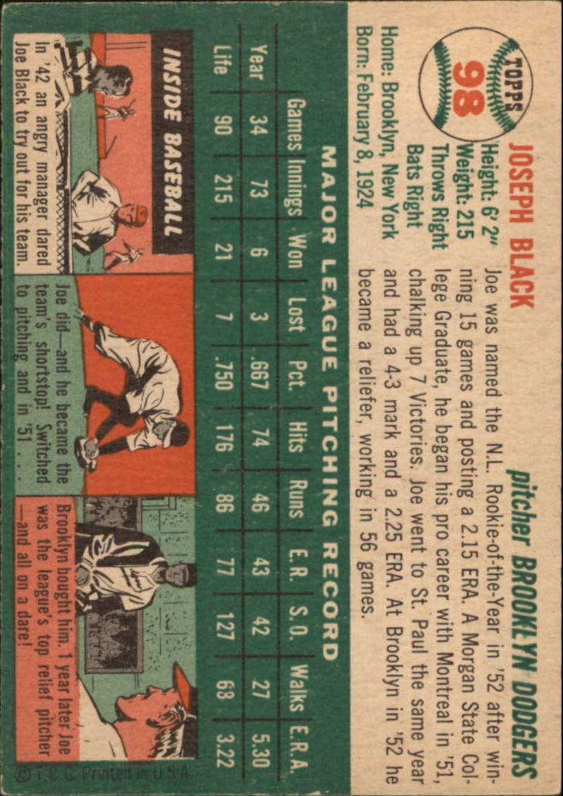 1954 Topps #98 Joe Black back image