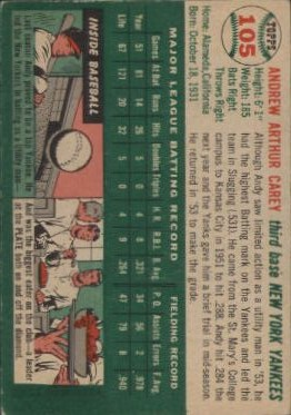 1954 Topps #105 Andy Carey back image